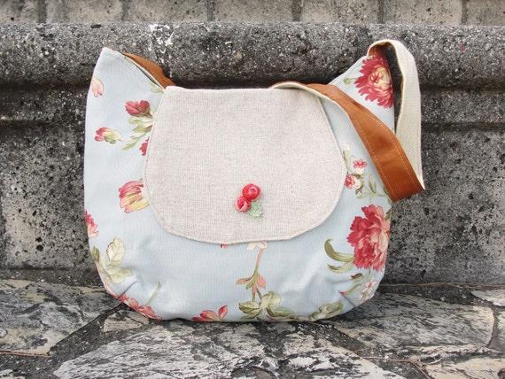 Floral Cotton Shoulder Bag with Leather Strap Romantic Purse