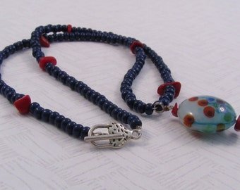 "Dark Blue and Red Necklace, Floral Glass Pendant Necklace, 19"" Necklace, Hand Beaded Necklace, Whimsical Flowers Necklace, Unique Gift"