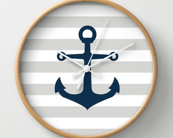 Nautical Anchor Wall Clock 10 inch Diameter Gray and Whilte Stripes Navy