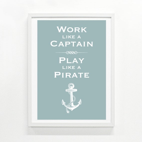 Play Like A Pirate Poster, 9 x 12 - pick your color