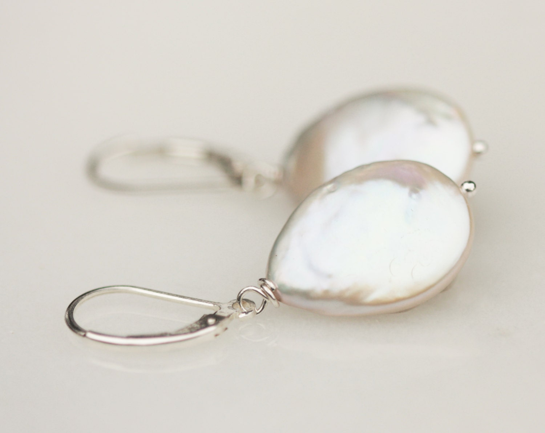flat pearl earring teardrop pearl earring pearl bridesmaid