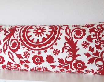 Body pillow cover - Red- White - Suzani - 20x54 -Decorative - Body pillow case