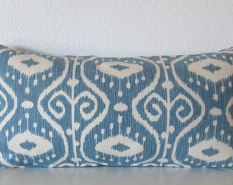 Pillow Cover - Blue Ikat - Bali Yacht - Cushion Cover