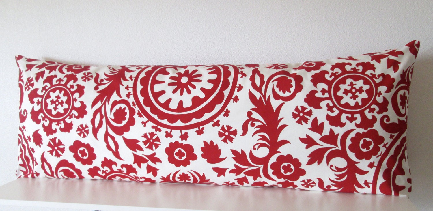 Body Pillow Cover Patterns: Body pillow cover Red White Suzani 20x54 Decorative,
