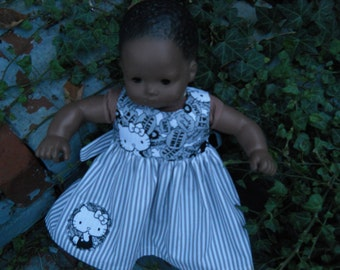 American Girl Bitty Baby Hello Kitty Baby Doll Dress in Gray and white Strips