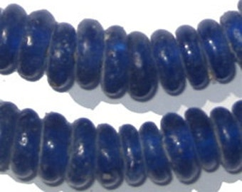 135 Rondelle Recycled Glass Beads - Cobalt Blue - African Glass Beads - Jewelry Making Supplies - Made in Ghana ** (RCY-DISK-BLUE-533)