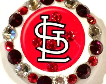 St. Louis Cardinals Red Swarovski Crystal Embellished ID Badge Reel