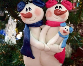 Personalized Snowman Family Baby Polymer Clay Christmas Ornament