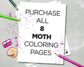 Printable Moth Coloring Book - All 8 Moths Included - Instant Downloadable PDF
