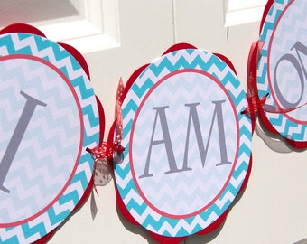 "Chevron ""I AM ONE"" Banner - Chevron Birthday Party Decorations - Red & Teal Chevron Birthday Banner - First Birthday Sign BB10"
