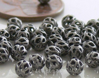 Antiqued Silver Open Weave Metal Beads 4mm 50 Pcs Cut Out Brass Beads