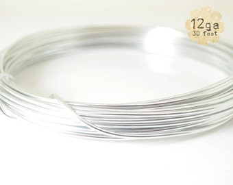 30ft 12ga Aluminum Craft Wire - 12 gauge, 9.2m, wire wrapping, jewelry, crafts, floral designs - SILVER