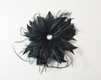 Feather Fascinator with Brooch and Clip, handmade- Black