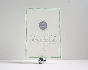 Preppy Fun Save the Date Wedding Mint Green Stripes