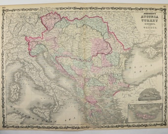 1862 Austria Map Turkey, Greece Map Hungary Balkan Peninsula 1862 Johnson Map, Antique Art Map Gift for Couple, Gift for Coworker