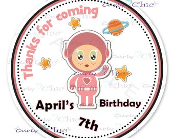 Happy Birthday Sticker  -Astronaut Labels -Space Girl Labels -Personalized Birthday Sticker -Birthday Girl Labels -Astronaut Girl Stickers