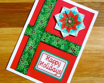 SALE 50% OFF - Happy Holidays Handmade Red and Green Cross Stitch Christmas Card with Tea Bag Folded Flower Embellishment