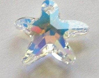1 Swarovski crystal Pendant bead Starfish -- Crystal AB --  Choose 16mm or 20mm