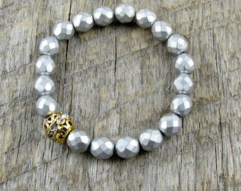 Metallic Silver Bracelet Stacking Bracelet Rhinestone Boho Gold Bracelet Set Beadwork Wedding