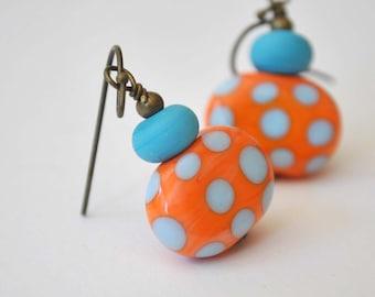 Orange Lampwork Earrings, Colorful Earrings, Glass Bead Earrings, Whimsical Earrings