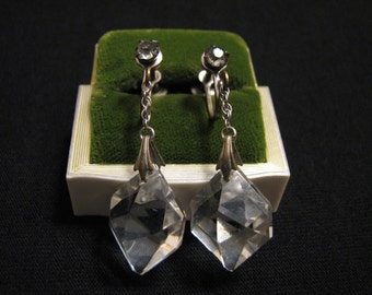 Antique Silver Tone Diamond Rhinestone and Clear Chained Faceted Crystal Screwback Earrings