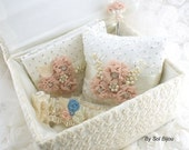 Bridal Keepsake Box, Wedding Keepsake Box, Baby, in Ivory, Blush, Light Peach and Cream with Lace, Pearls and Crystal Jewels