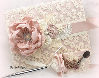 Guest Book, Wedding, Bridal, Signature Book, Signing Pen, Blush,Tan, Beige, Rose, Ivory, Lace, Crystals, Pearls, Vintage Style, Elegant