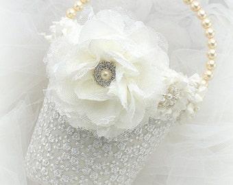 Flower Girl Basket, Elegant Wedding, Ivory, Cream, White, Lace, Pearls, Crystals, Vintage, Gatsby Wedding, Pearl Handle, Vintage Style