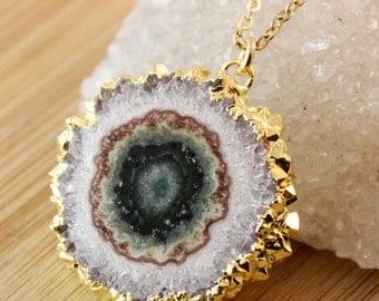 50% OFF SALE - Natural Stalactite Necklace - Slice Necklace - 14K GF, Choose Your Stalactite