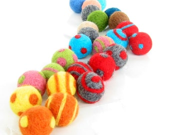 Set of 4 Cat Toy Balls - Big Size - Wool Felted