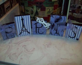 Paris decor blocks lavender purple French decor,French country,shabby chic,Paris bedroom decor,French bedroom,Eiffel Tower