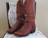 Vintage oxblood leather western boots Laramie size mens 6 1/2-7 womens 8-8 1/2