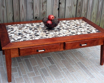 Coffee Table, Circular Marble Tile Mosaic, Contemporary, Mahogany Finish - Handmade