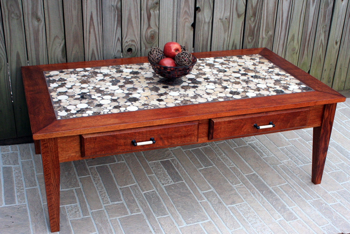Coffee Table Circular Marble Tile Mosaic Contemporary