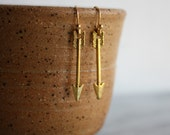 Gold Arrow Earrings, Simple, Womans Jewelry, Gift for Her, by ktnunna
