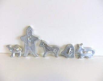 Vintage Holiday Cookie Cutters Aluminum