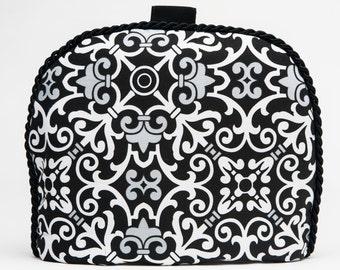 Tea Cozy / Cosy - Flourish and Lattice -Black / White Design  w/ Black Braid