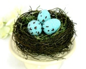 Robin Eggs In Twig Nest Beaded Easter Decor Woodland Cottage Shabby Chic Spring Home Accent *MADE TO ORDER