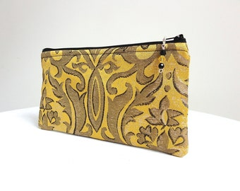 Yellow Charcoal Black Clutch Scrolls / Zippered Bag with Beaded Pull - READY TO SHIP