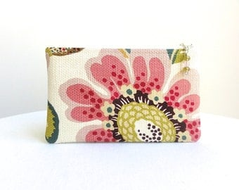 Big Flower Zippered Bag in Fuchsia, Pale Rose, Maroon & Green / Beaded Pull  - READY TO SHIP