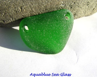 Drilled  Genuine Sea Glass Emerald Green Seaglass Beads For Bracelet  Or Connector Beach Glass  (426)