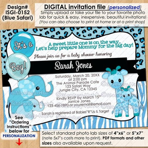 blue safari giraffe baby shower invitations elephant elephants boy
