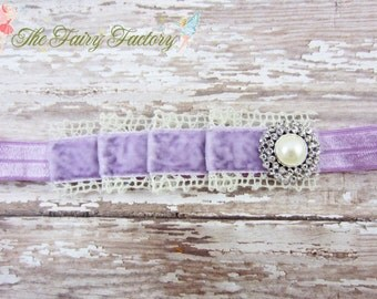 Baby Headband, Pleated Lavender Velvet and Ivory Crochet Lace w/ Pearl & Crystals Headband, Vintage, Newborn Baby Child Girls Headband