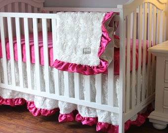 Customize Your Color, White Roses Crib Bedding, White Roses Baby Bedding, Crib Bedding, White Roses, Fancy Crib Bedding