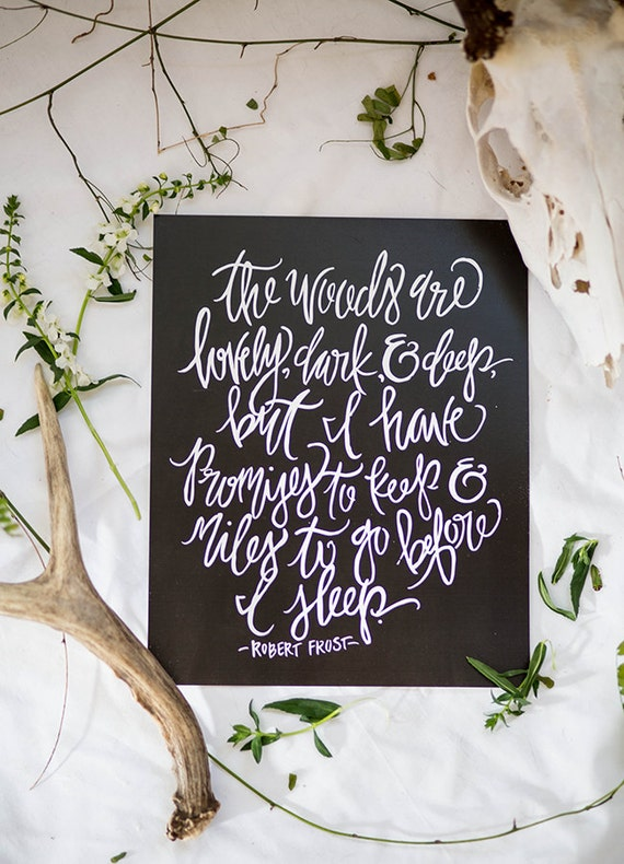 Items Similar To Calligraphy Art Print The Woods Are