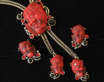 Selro Red Devil Noh Mask Bolo Necklace and Matching Earrings