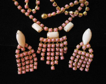 1950s Pink Rhinestone Set: Necklace and Earrings