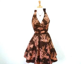 Vintage Cotton Dress, Halter Antique art Print Pin-up Sundress XS/S