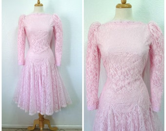 1950s Dress Pastel Pink lace Carlye Wedding Bridal Party Prom dress S