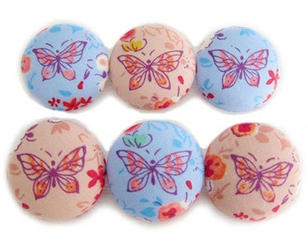 Fabric Covered Buttons - Butterflies and Flowers - 6 Large Fabric Buttons